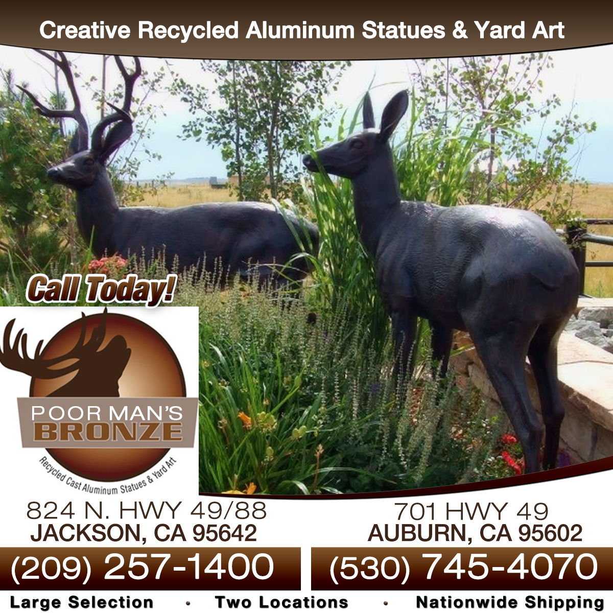 Unique bronze garden statues and yard art for sale by Poor Mans Bronze.